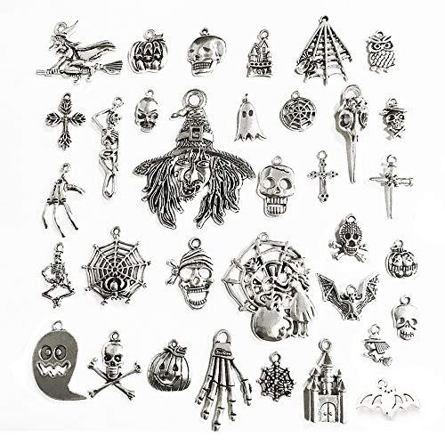 Stiesy - Juego de 35 piezas para hacer joyas estilo tibetano Pumkin murciélago bruja encantos para decoración de Halloween y hacer pulseras y manualidades