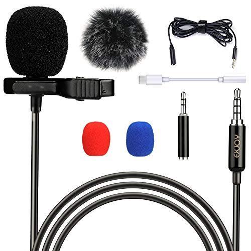 Lavalier Mikrofon für Handy und PC, Ansteckmikrofon mit Type C Adapter und Windschutz, EXJOY Mini Lapel Mic mit 2m Verlängerungskabel, für Interview, Videokonferenz, Podcast, Diktat, Phone