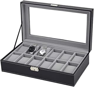 Watch 6/10 / 12 Grids Faux Leather Jewelry Display Box Watch Storage Box Watch, Fashion Watch (Color : 12 GRIDS)