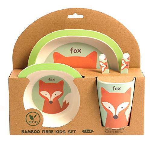 ORNAMI Set Vajilla de bambú para niños, 5 piezas, diseño de Zorro - El Set incluye un plato, cubiertos, un tazón y un vaso - Respetuoso con el medio ambiente, sin BPA y apto para lavavajillas