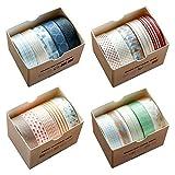 Washi Tape Set, 20 Rotoli Nastro Adesivo Decorativo Nastri Colorati Adesivi Washi Tape Set Nastro Adesivo Coprente per Scrapbooking Quaderni Biglietti Lettere Diari Fai da te