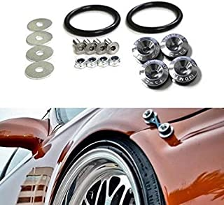 iJDMTOY Universal Fit Gun Metal Grey Finish JDM Quick Release Fastener Kit for Car Bumper Trunk Fender Hatch Lid