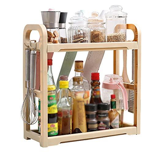 ZJG Especiero, Estante de Pie de Armario de Almacenamiento de Cocina, Solución de Almacenamiento de Despensa de Cocina de Diseño Moderno,Beige