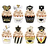 2021 Graduation Cupcake Toppers and Wrappers, 96PCS Congrats Grad Mini Cake Picks Graduation Decoration, Black and Gold Class Of 2021 Graduation Party Supplier Decor ( Set of 48 )