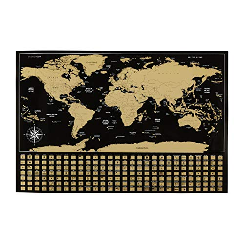 AmazonBasics Scratch Off Poster of the World Map with Scratcher and Tracking Accessories, 16' x 24'