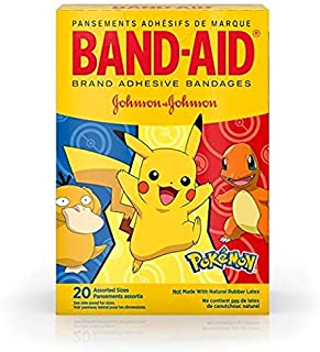 Band-Aid Brand Adhesive Bandages for Minor Cuts & Scrapes, Wound Care Featuring Pokémon Characters for Kids, Assorted Sizes 20 ct