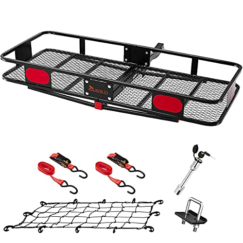 """KING BIRD Upgraded 60"""" x 24"""" x 6"""" Hitch Mount Folding Cargo Carrier Fits to 2'' Receiver,500LBS Capacity Cargo Basket with Trailer Hitch Lock,Hitch Stabilizer,Net and Straps"""