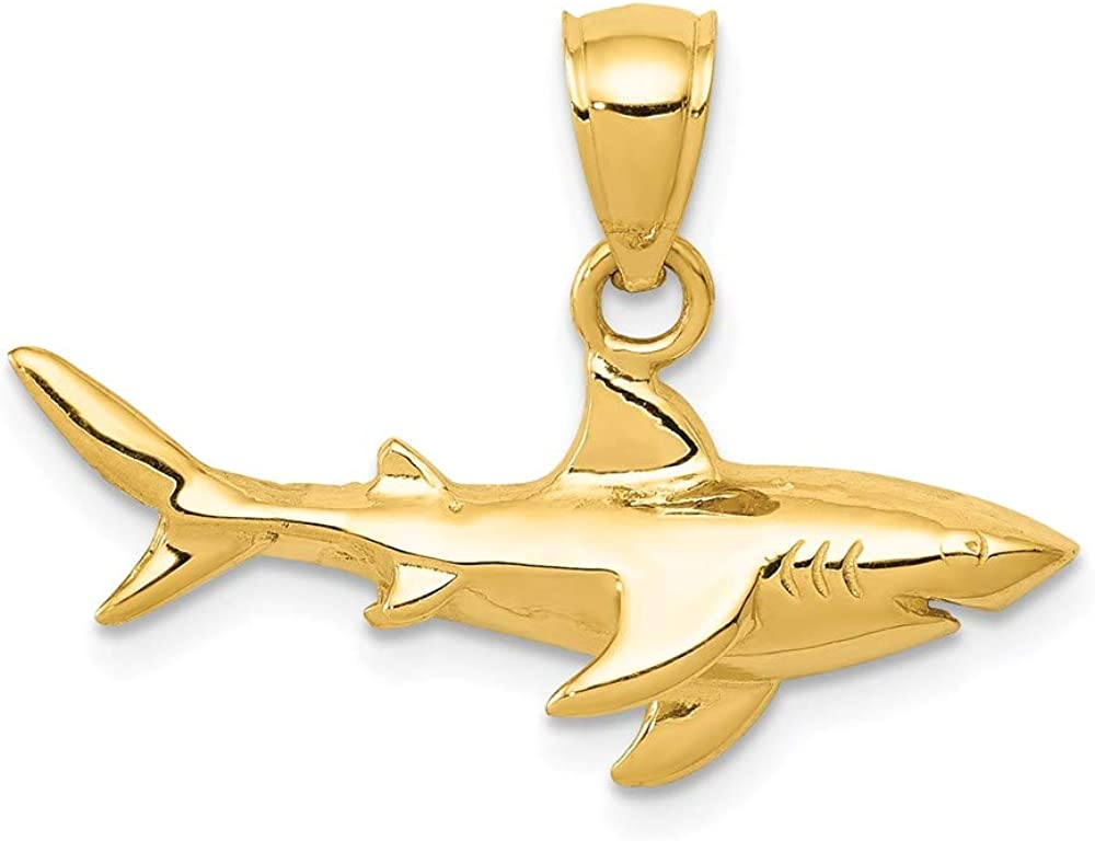 14k Yellow Gold Shark Pendant Charm Necklace Fish Sea Life Fine Jewelry For Women Gifts For Her