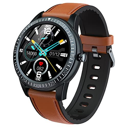 HQPCAHL Smartwatch Reloj Inteligente Impermeable Pulsera De Actividad Inteligente con Monitor De Sueño Contador De Caloría Pulsómetros Podómetro para Android iOS,Marrón