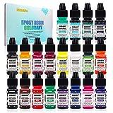 Pigmento de resina epoxi – 20 colores resina epoxi colorante transparente, pigmento de resina UV, tinte líquido para joyas de resina, pintura, manualidades de bricolaje (10 ml cada uno)