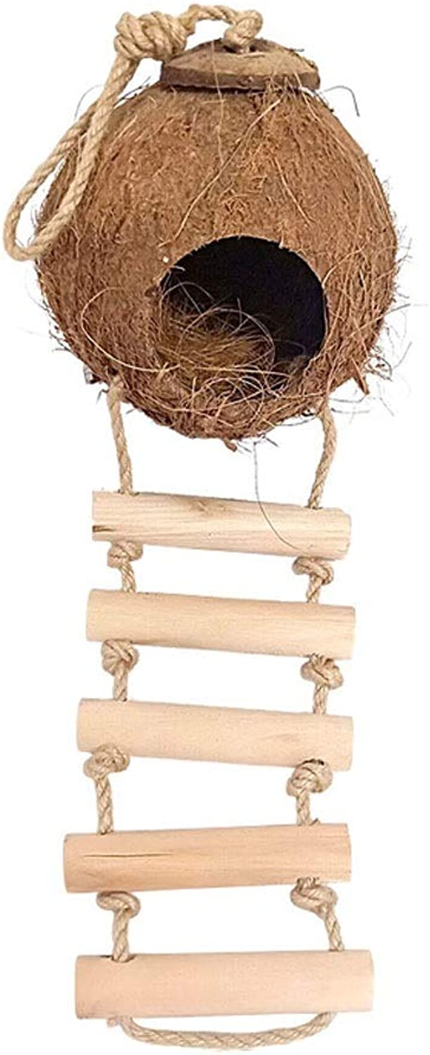 Bird Cage Natural Coconut Shell Bird Outdoor Landscaping Ornament Bird Nest 5 Styles Can Choose Round Bird Cage Birdcage (Size   B)