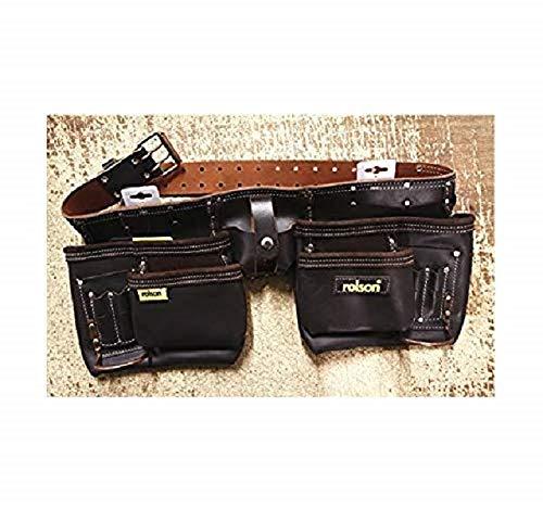 Rolson Tools 68889 Werkzeuggürtel, doppelt, mit Öl gegerbtes Spaltleder