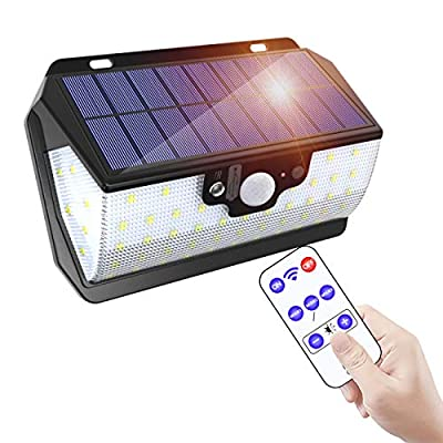 MODAR Outdoor Solar Light 55 LEDs with Motion Sensor with Remote Control/USB Charge/IP65 Waterproof/3 Adjustable Modes, Ideal for Garden, Garage, Driveway