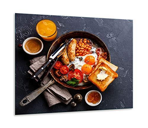 QTA | fornuisafdekplaat 60 x 52 cm keramische afdekking 1-delig universeel elekrofornuis inductie voor kookplaten fornuis bescherming spatbescherming snijplank eten kleurrijk