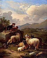 26 世界の名画 - ¥4K-150k 手書き-キャンバスの油絵 - アカデミックな画家直筆 - On The Lookout Eugene Verboeckhoven animal sheep 犬 - 絵画 洋画 複製画 -サイズ07