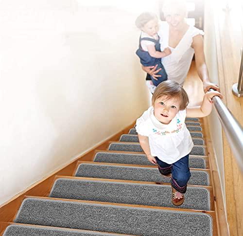 Lemecima Alfombrillas para Escaleras, (Paquete de 15) Alfombras Antideslizantes Peldaños de Escalera, para Interiores Niños, Ancianos y Mascotas con Adhesivo Reutilizable, 76X 21 cm, Gris Claro