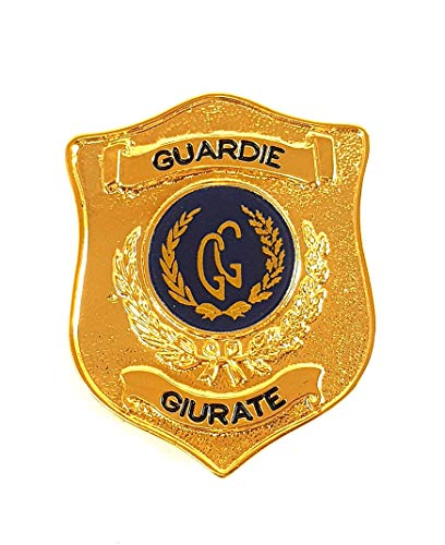 PLACCA guardia giurata SECURITY MILITARE CON CLIP DA APPENDERE IN METALLO