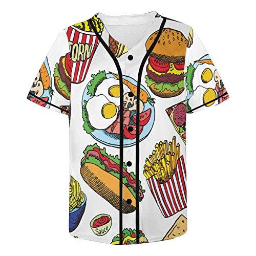 INTERESTPRINT Hot Dog with Sausage Popcorn Chips Pizza Bacon Egg Men's All Over Print Baseball Hip Hop Jersey M