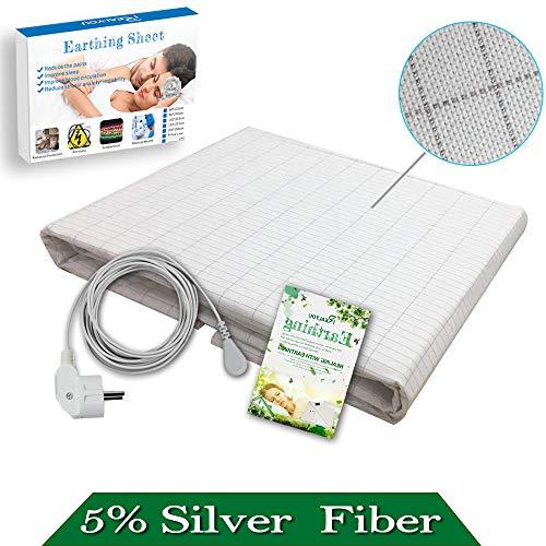 Sábana de conexión a tierra, mitad cama hoja para grounding- sábana de color beige, pure algodón con hilos de plata (90 * 230 cm)