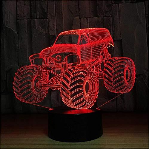 Lámpara de colores 3D, forma de camión de coche, holograma 3D automático, iluminación del hogar, decoración de dormitorio, lámpara de mesa de escritorio, mejor regalo de Año Nuevo, luz fresca