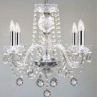 Murano Venetian Style All Empress Crystal (Tm) Chandelier! With Chrome Sleeves! H17