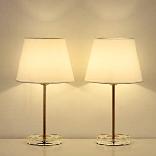HAITRAL Modern Table Lamps Set of 2- Small Bedside Lamps with Acrylic Base, Small Nightstand Lamps for Bedrooms, Office, Dorm, Girls Room -Gold Metal, White Fabric Shade