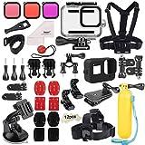 Deyard 52 en 1 Kit de Accesorios para GoPro Hero 8 Black, Funda Impermeable con 3 Filtros, Funda de Goma para Cuerpo/Cabeza/Correa de Muñeca/Clip de mochilas para el coche