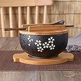 weichuang Cuenco japonés con fideos instantáneos, vajilla de comedor, ensalada, cuenco de cerámica, cuchara de madera, palillo de madera (color: negro)