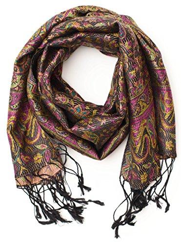ufash ufash Pashmina 100% Seidenschal aus Indien für Damen & Herren, Paisley Muster, 160 x 35 cm - Schal aus reiner Seide, Braun 3