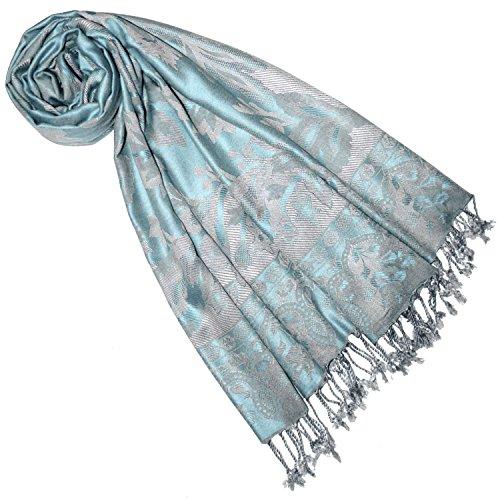 Lorenzo Cana Marken Damen Schal Naturfaser Floral Blumen Stola Schaltuch Tuch Stola Grau Bleu Hellblau Aqua Pastell 70 cm x 210 cm 7844577