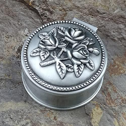 HUYHUJ Pequeño tamaño Retro Joyería de Metal Joyería Vintage Flor Tallado Decoración Tinket Caja Pulsera Pulsera Colgante Almacenamiento Beads Organizador