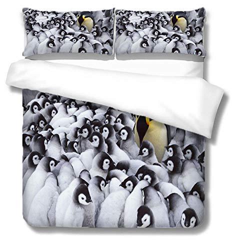 Colchas Cama 135 Pingüino Animal Blanco Fundas Nordicas Suaves Lujosa Juego de Ropa de Cama...