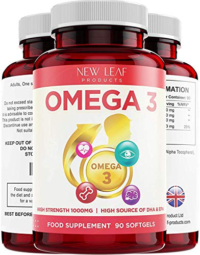 Omega 3 1000mg Capsules - High Dose Fish Oil - Enriched with Vitamin E - One A Day Pure Fish Oil Gel Capsule - Helps Maintain Healthy Eyes, Brain Function, & Skin - GMO-Free, GMP, & UK Made