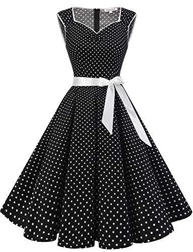 Vintage Tupfen Retro Cocktail Abschlussball Kleider 50er 60er Rockabilly A Line Partykleider Black Small White Dot XL