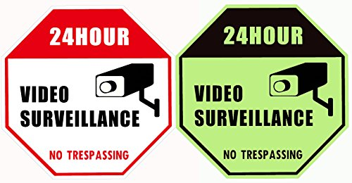 """WISLIFE Video Security Sign - ONE Piece, Glow in The Dark Security Surveillance Signs, No Trespassing Signs 12"""" X 12"""" (ONLY 1, Day & Night as Picture)"""