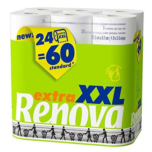Renova Papel Higiénico XXL - 24 Rollos Equivalentes a 60 Rollos Estándar