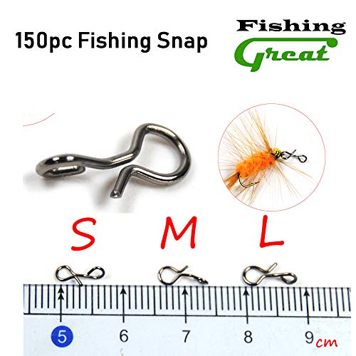 Greatfishing 150pc Fly Fishing Snaps Stainless Steel Quick Change, Fast Easy Fly Hook Lure Snap, 3 Size Combo Hook Snaps for Flies Jigs Lures