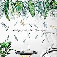 ウォールステッカー壁画、熱帯の葉壁ステッカー、リビングルームの寝室のキッチンの装飾のための北欧スタイルの緑の壁のステッカー自己粘着性の壁紙、寝室の女性のための、保育園の壁の装飾