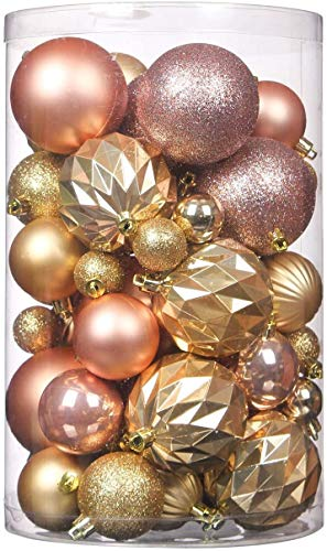Wyness Christmas Tree Hanging Balls for Xmas Tree,Decoration Roping Baubles Set for Holiday Wedding Party Decoration Christmas Package Tree Ornament 50PCS (Champagne & Gold)