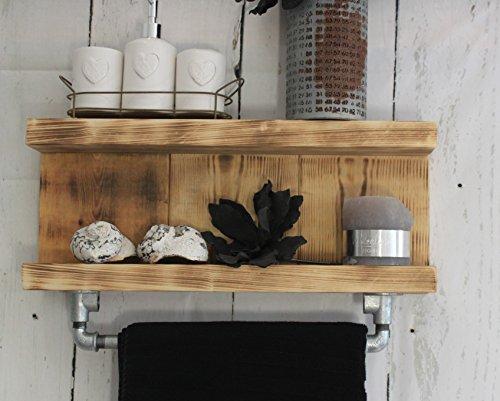 Estantería de baño de madera con barra para toallas de mano en estilo Shabby Vintage – Marrón (flameado) – ya montada.