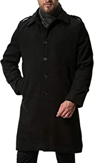 CYJ-shiba Men Casual Slim Single Breasted Trench Coat Wool Blend Jacket Overcoat