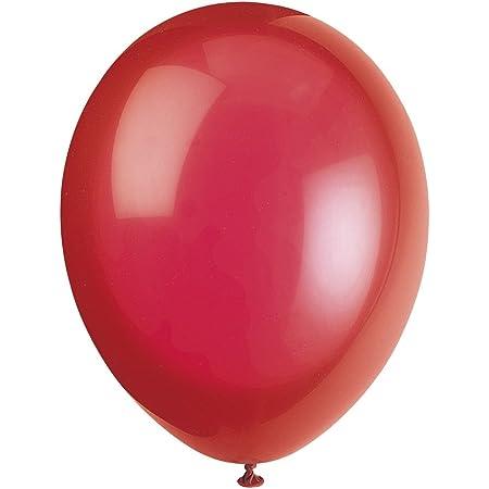 Unique Party-80012 Globos de Látex de 30 cm, Color Rojo (Scarlet Red), Pack de 10 (80012)