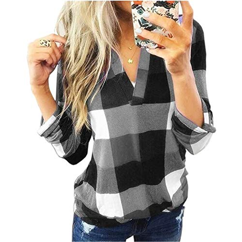 FrüHling Und Herbst Frauen Bedruckt V-Ausschnitt Loose Plaid Splicing Shirt Kurzarm Top T-Shirt