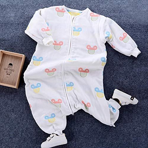 Katoenen mouwloze babyslaapzak, slaapzak voor baby's en peuters met 6 lagen katoenen gaas - Baby mouse_Length 90, slaapzak Baby wikkeldeken