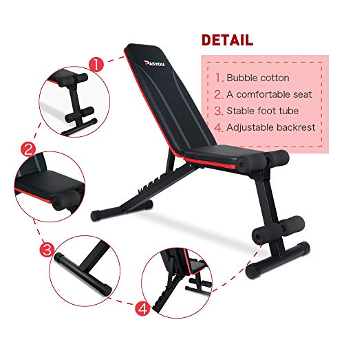 PASYOU Adjustable Weight Bench Full Body Workout Foldable Incline Decline Exercise Workout Bench for Home Gym