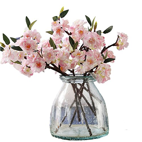 JAROWN Artificial Cherry Blossom Branches Flowers Light Pink 5pcs 17.3 Inches