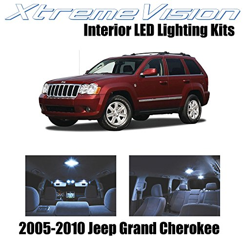 Xtremevision Interior LED for Jeep Grand Cherokee 2005-2010 (9 Pieces) Cool White Interior LED Kit + Installation Tool
