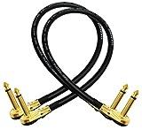Van Damme Pro Grade Classic XKE–Set de 2 cables de 45cm, ultraflexibles, apantallados, para efectos de guitarra, bajo e instrumentos, con conexión de 6,35mm chapada en oro y perfil bajo, cabezal acodado a la derecha, tipo TS