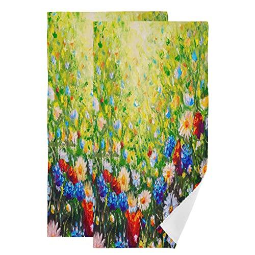 QMIN - Juego de 2 toallas de mano con diseño de flores de margarita, absorbentes, suaves y absorbentes, para cocina, baño, yoga, gimnasio, playa, 71,9 x 36,6 cm