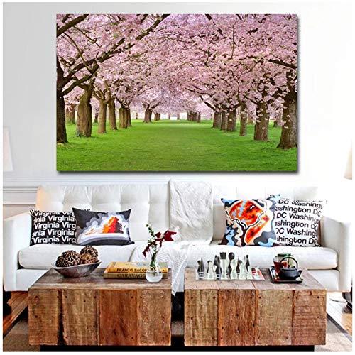 yhyxll Cerezo Flores románticas Arte Lienzo Pared Arte árbol Imagen Lienzo Pintura Cuadros para Sala de Estar decoración del hogar-60x90cm sin Marco